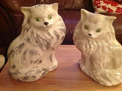 Pair of hand-painted porcelain Cat figurines/ornaments