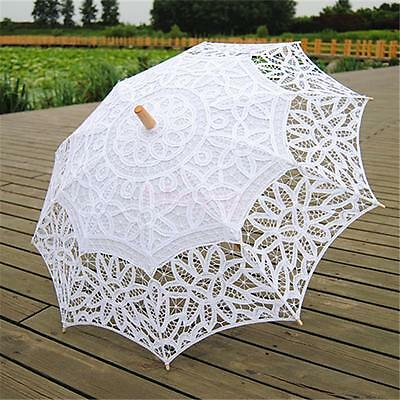 Handmade Cotton Lace Wedding Bridal Parasol Umbrella White for Party Prom