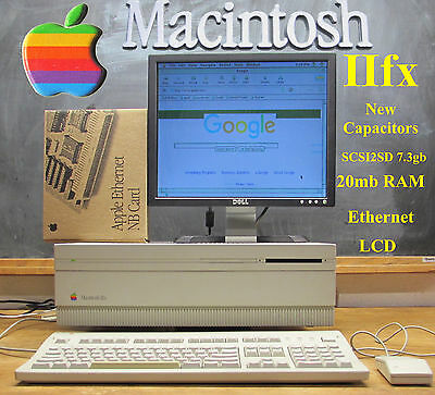  MUST SEE1992 Apple Macintosh Mac IIFX with Ethernet, SCSI2SD, new Capacitors