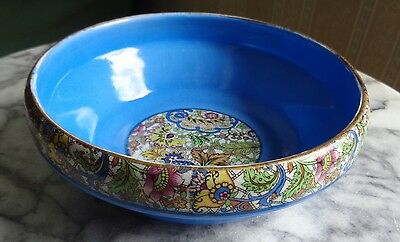 Vintage Blue and Paisley/Chintz Pottery Bowl - England
