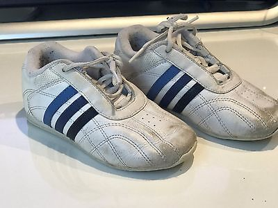 Boys White Leather Adidas Sneakers - Size US 9