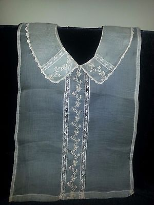 ANTIQUE Victorian Edwardian Ecru Dress Collar Dickie Blouse Lace Flower Pattern