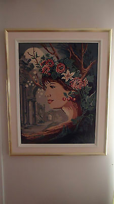 """BEAUTIFUL vintage handcrafted framed needlepoint woman LARGE 32"""" X 26"""""""