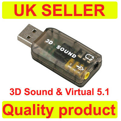 External USB 2.0 to 3D Virtual Audio Sound Card Adapter Converter 5.1 Channels K