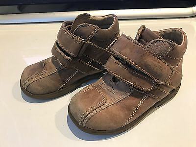 Boys Brown Leather Ankle Boots - Size 25