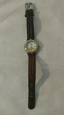 Disney Time Works  Winnie the Pooh watch BROWN leather band Quartz 85/8169 6L12