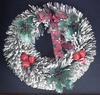 "Vintage Flocked 14"" Christmas Wreath"