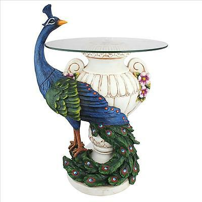 Netherlands' Majestic Graceful Plumed Peacock Glass Topped Sculpture Side Table