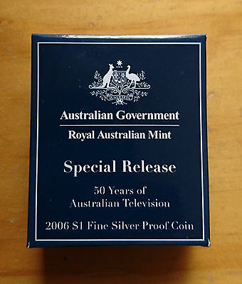 2006 - 50 years of Australian Television $1 Fine Silver Proof Coin