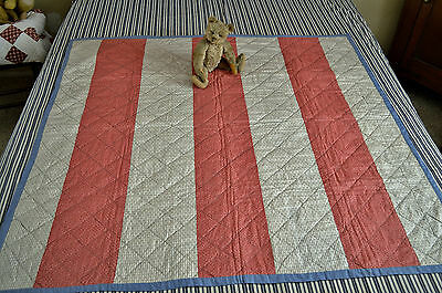 Antique Double Sided Hand Stitched Bars Calico Crib Quilt Never Washed