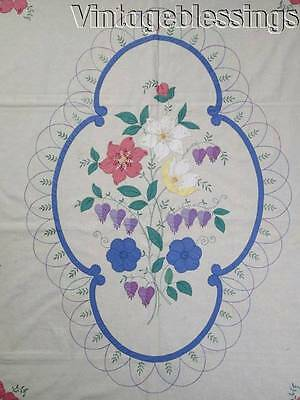 "Vintage 30-40s Romantic Applique Floral Coverlet or Quilt Top 100"" x 85"""