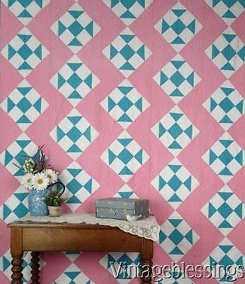 """Very Sweet Vintage Cottage Home Pink Blue White QUILT 80x66"""""""