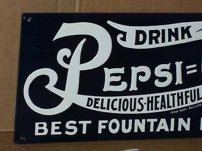 DRINK PEPSI-COLA 5c -DELICIOUS HEALTHFUL Fountain & Gas Station SCREEN DOOR SIGN