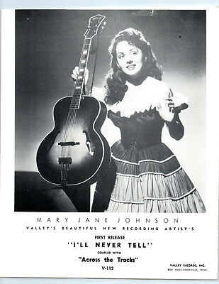 1950's MARY JANE JOHNSON Vintage VALLEY RECORDS Publicity Photo COUNTRY MUSIC