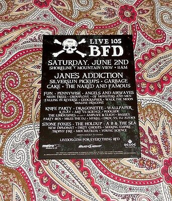 2012 Live 105 Bfd Handbill - Janes Addiction - Garbage - Cake - Others!  Look!