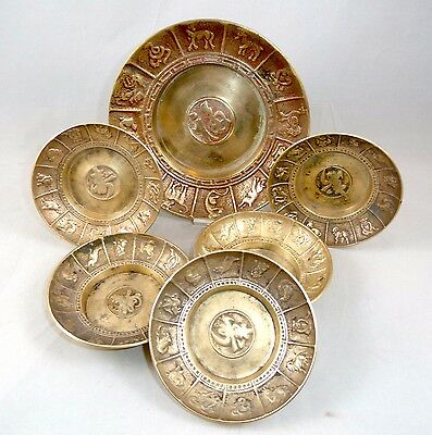 Antique Sheng Xiao Chinese Zodiac Calendar Seoul Korean Brass Bowls / Ashtrays