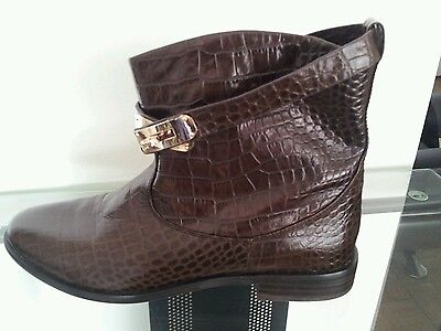 Women's real leather brown flat boots animal print size US 9