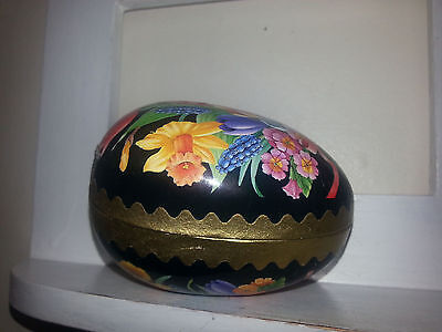 Vintage Easter Egg Gold Black & Flowers Candy Container Germany Paper Mache