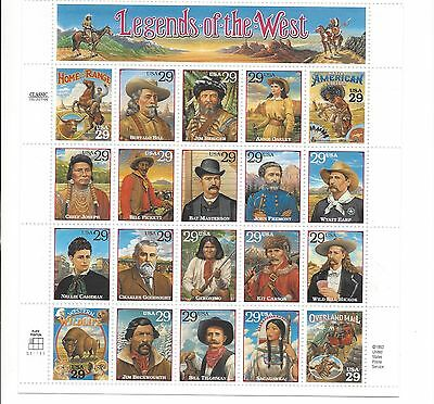 Scott 2869 Legends of the West sheet of 20 .29 cent stamps