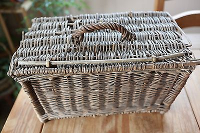 Antique French Fishing Wicker Basket Creel