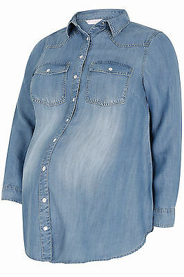 Yoursclothing Plus Size Womens Bump It Up Maternity Denim Shirt