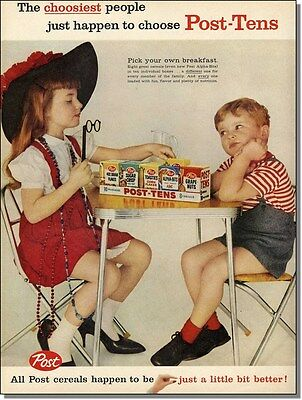 1959 Children at play, vintage individual Post cereal boxes print-ad