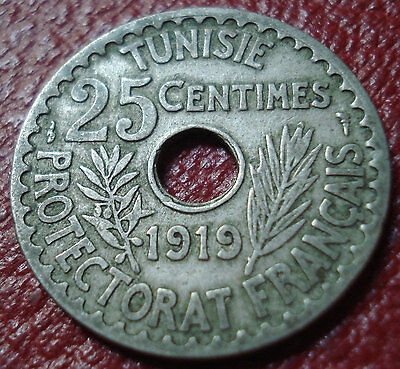 1919 Tunisia 25 Centimes In Fine Condition