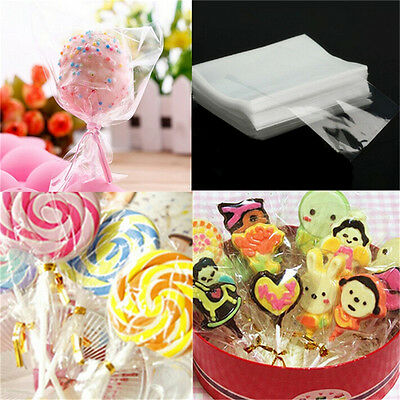 100pcs Clear Chocolate Lollipop Cello Bags Cellophane Party Favor 10x15cm 8X6