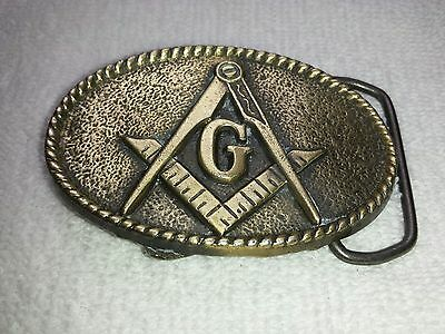 Vintage Masonic Freemason Solid Brass Belt Buckle