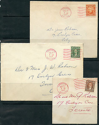Weeda Canada Lot of 3 RED Toronto CDS cancels, Christmas Eve 1938, all complete