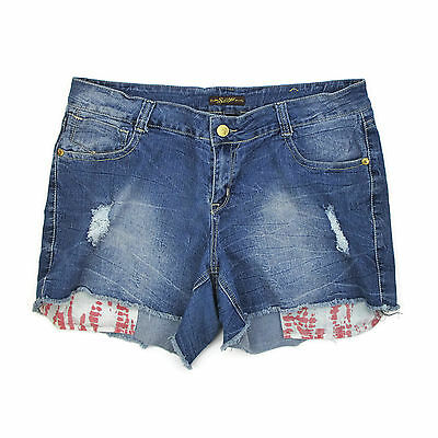Southpole Womens Denim Shorts 22W Distressed Cut Off Jeans Plus Size Festival