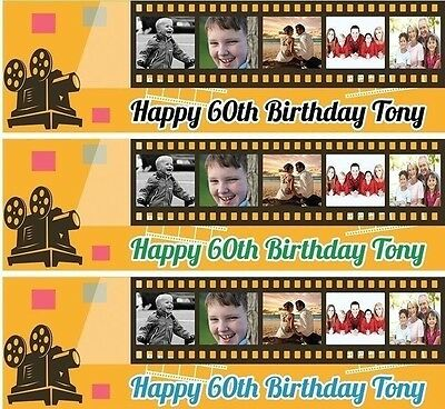 PERSONALISED BIRTHDAY BANNER MOVIE FILM 1st 18th 21st 30th 40th-any name age e7