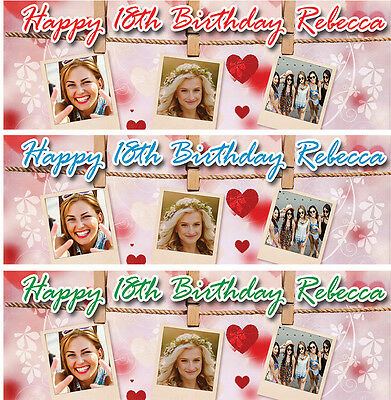 PERSONALISED BIRTHDAY BANNER HEART PHOTO KIDS -1st 2nd 3rd ANY AGE ANY NAME e1