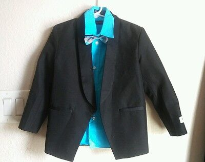 TODDLER BOYS Dress shirt Dockers blue w/ Black  tuxedo solid WITH BOW TIE