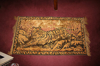 Antique Tapestry Rug-Lion Roaming Jungle-Small Detailed Rug Fabric