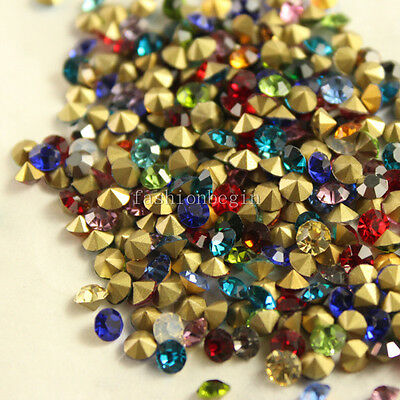 1.5mm-10mm mixed faceted pointed foiled back crystal rhinestone Nail Art beads