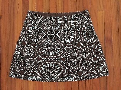 Patagonia Mini Skirt Organic Cotton Blend Brown/Aqua Abstract Floral Size S