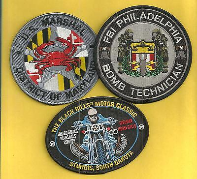 3 Federal- 2 Us Marshal Patches & 1 Fbi-Nice Trio To Get