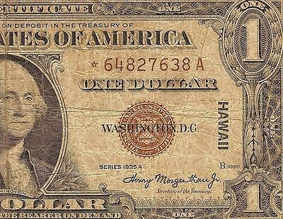 1935 A $1 Dollar Bill Hawaii Star Note Wwii Silver Certificate Brown Seal 2300*