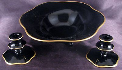Elegant L E Smith Black Glass Console Set Footed Bowl & Candlesticks Exc Cond