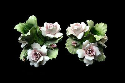Antique Genuine Capodimonte Porcelain Pair Of Floral Candle Holders Marked