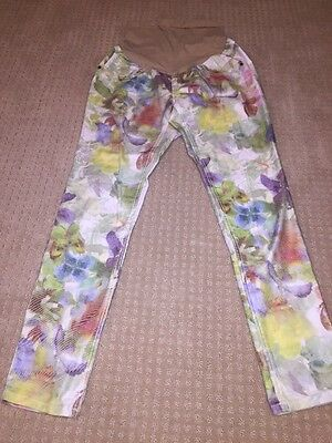 NWT Fade To Blue Denim Maternity Pants Size Large L jeans Floral print