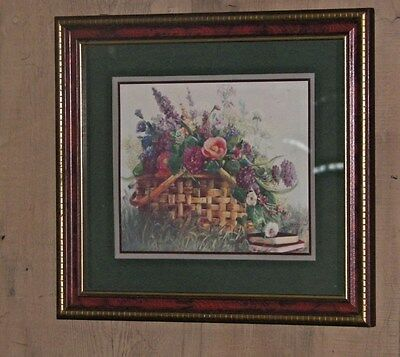 Vintage Home Interior Picture Basket Of Flowers