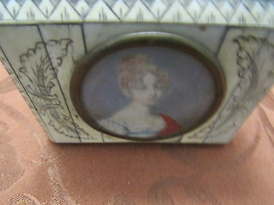 Antique etched ivory box and tortoise shell & hand painted lady from 1700's