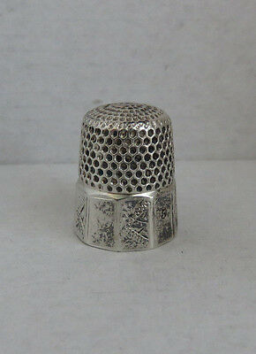Antique Sterling Silver Thimble Size 5 Paneled Band