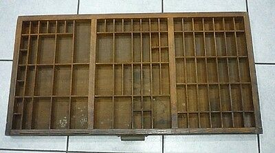 Antique Printers Block Tray Type Set Letter Shelves, Shadow box. 32x17 inches