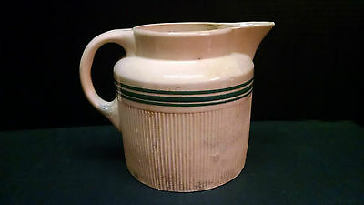 ANTIQUE Large HULL YELLOW WARE Pitcher Green Band Stripes Vintage