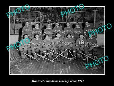 Old Large Historic Photo Of The Montreal Canadiens Ice Hockey Team 1942