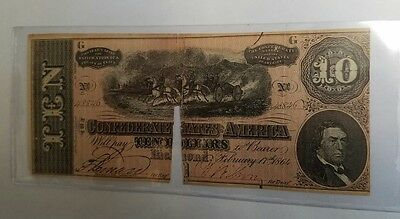 1864 $10 Confederate States Of America Large Note!!!!
