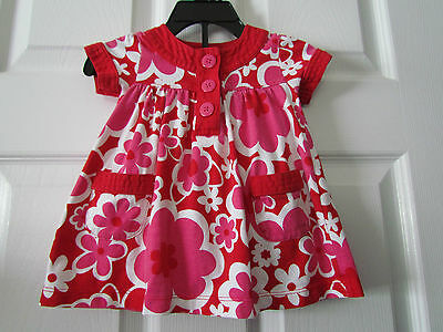 Carter's Red White Pink Floral Baby Girls Dress Size 6 Months